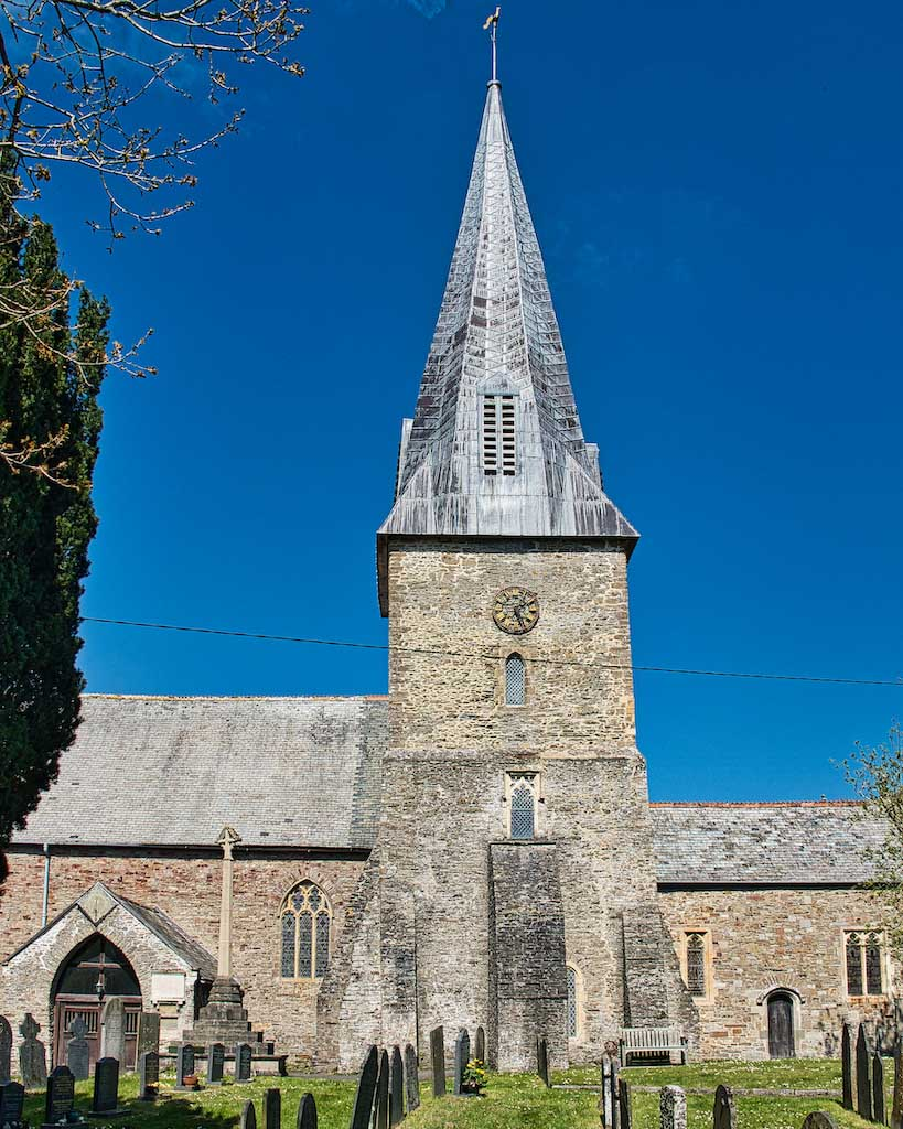 The broach spire (a spire on a tower with no parapet) on the Norman tower in Braunton.