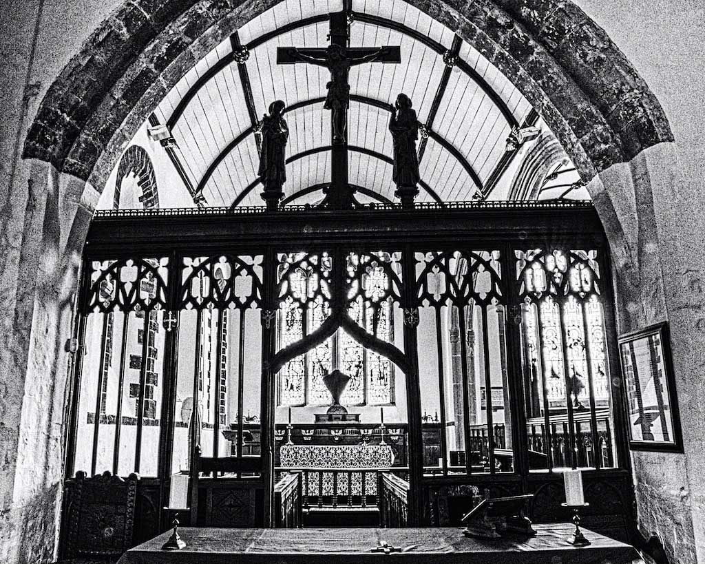 The old chancel screen, protecting the holy space.