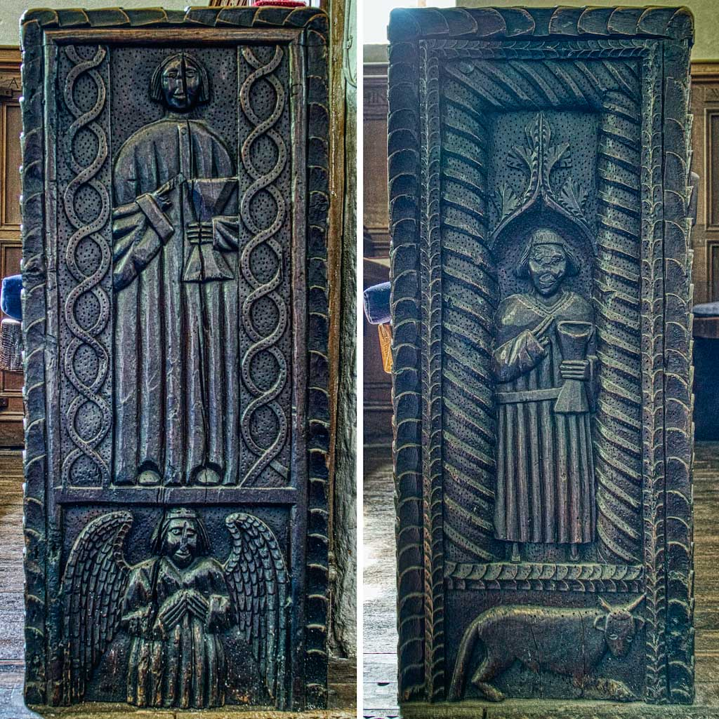 St John the Evangelist and St Brannock on these medieval banchends.