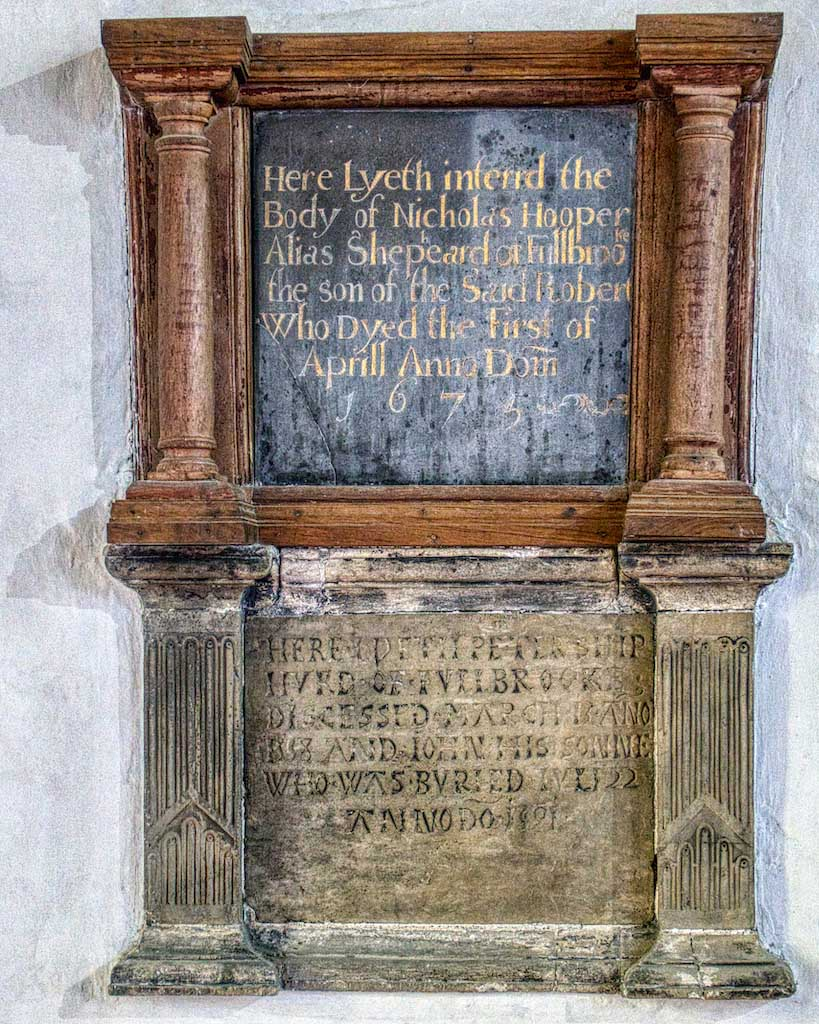 Two modest timber memorials, very rare in this form. Old gentry fallen on hard times, or up and comers?
