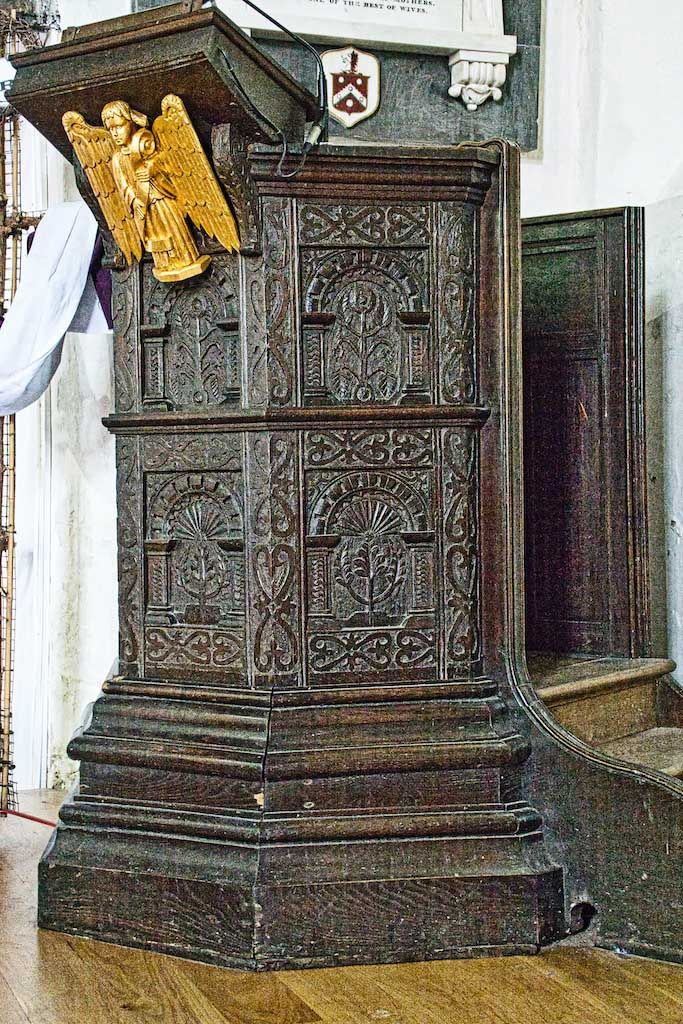 Such intricate foliage carving on this pulpit from the 1600s.