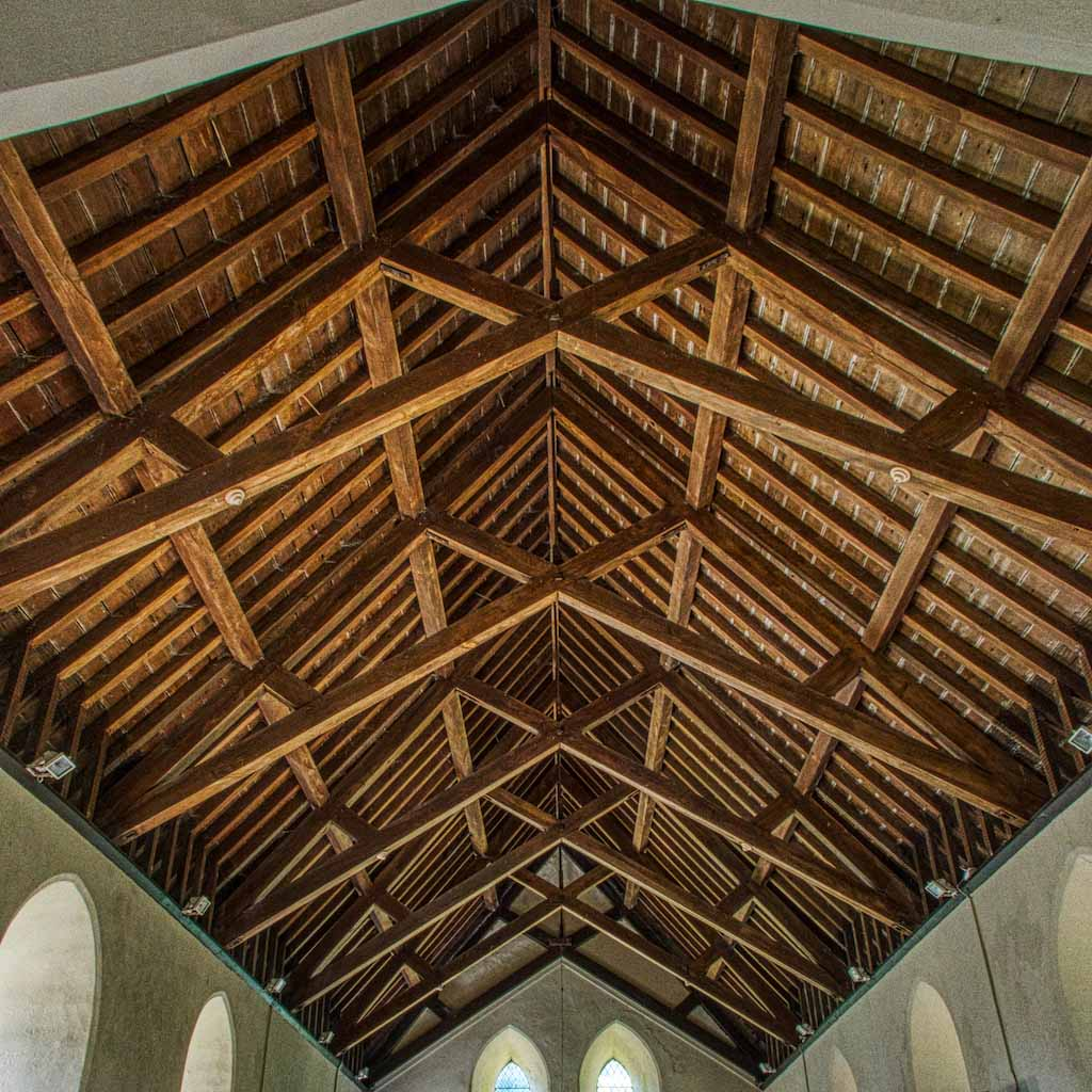 The scissor-braced truss roof at St Brigid's church in Virginstowe, Devon.