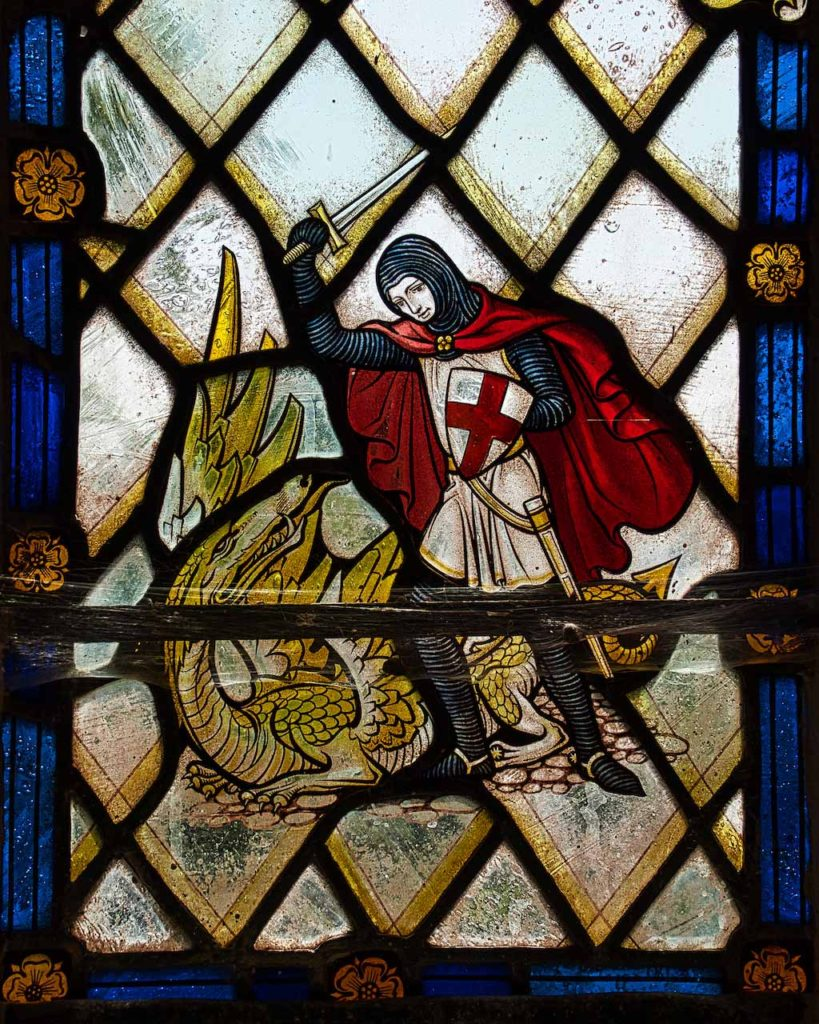 Virginstowe Church Stained Glass Saint George And The Dragon