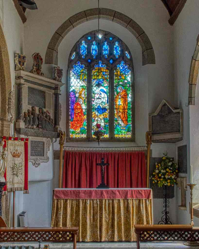 The south chapel sanctuary, 15th century, with Nativity window by AJ Davies