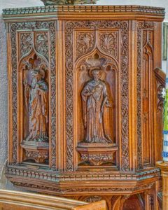 Pulpit Carved Wood Plain Victorian Thurlestone
