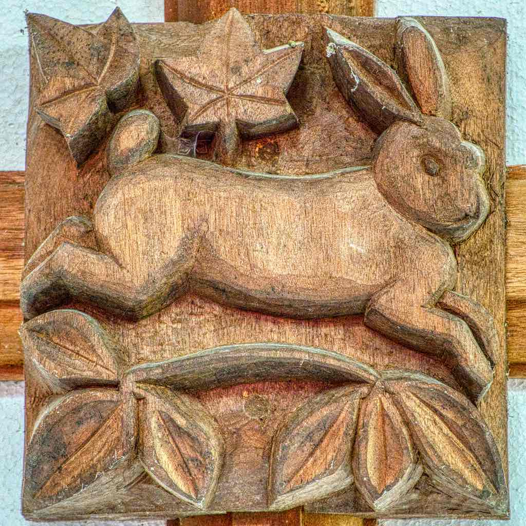 Roofboss 20th Century Hare Carved Wood Plain Broadwoodwidger