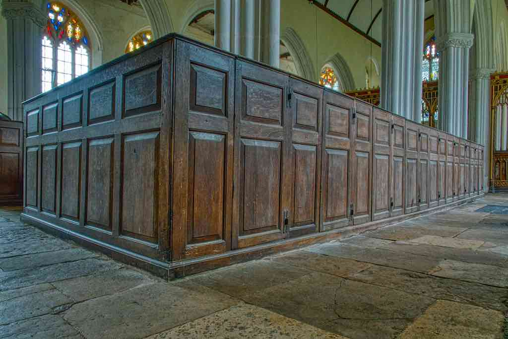 Fine old woodwork in these 18th century box pews.