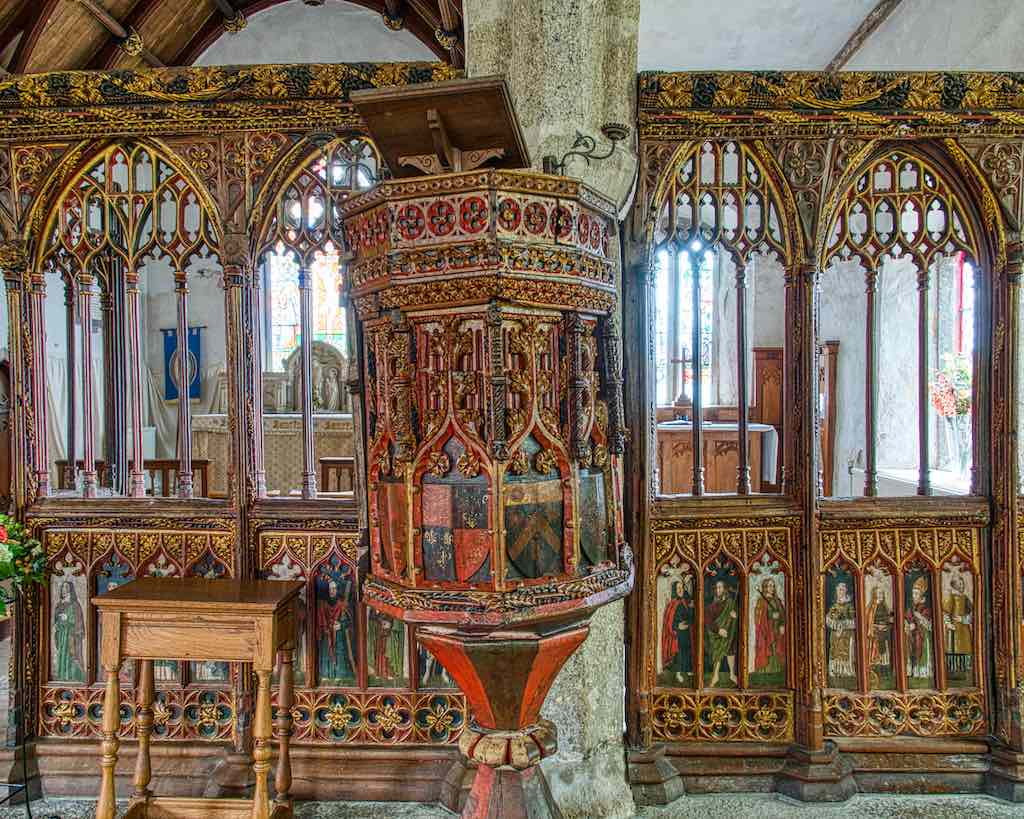 Stunning early 16th century roodscreen and pulpit, a magnificence of medieval colouring and carving