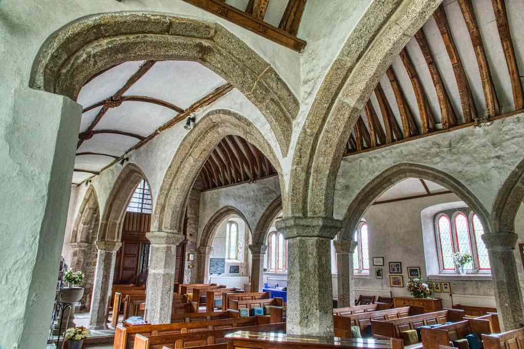 Criss crossing the church, the granite web of early 16th century arches added on to the late 13th century core.