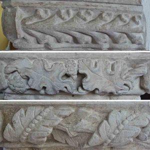 Pillar Capital Carving Stone Plain Foliage 15th Century Medieval Dalwood