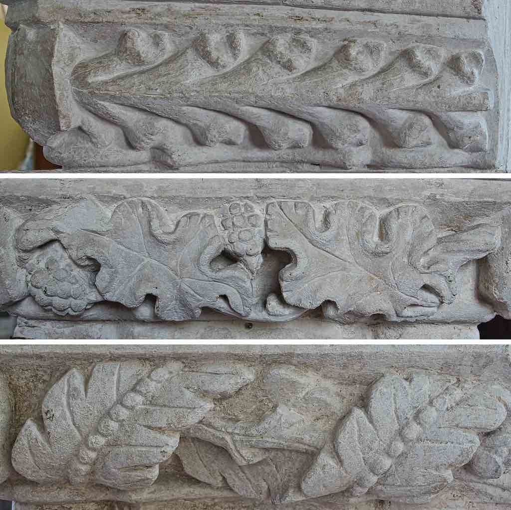 Foliage carving on the pillar capitals.