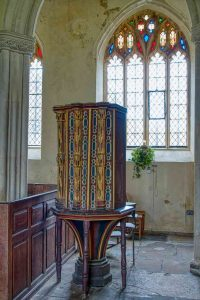 Pulpit Medieval Carving 15th Century Wood Coloured Devon Style Torbryan