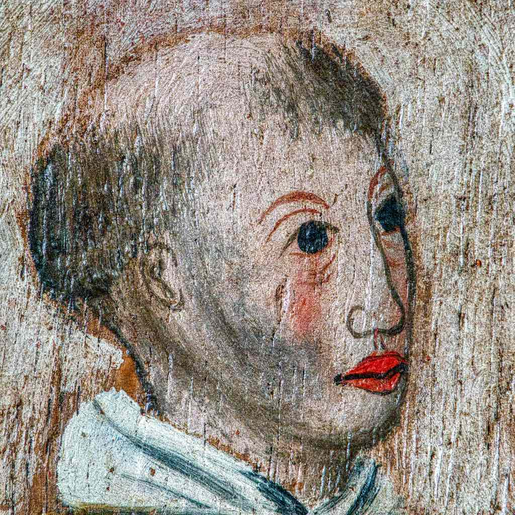 Roodscreen Painting Head Medieval Wood Face Medieval 16th Century Holne