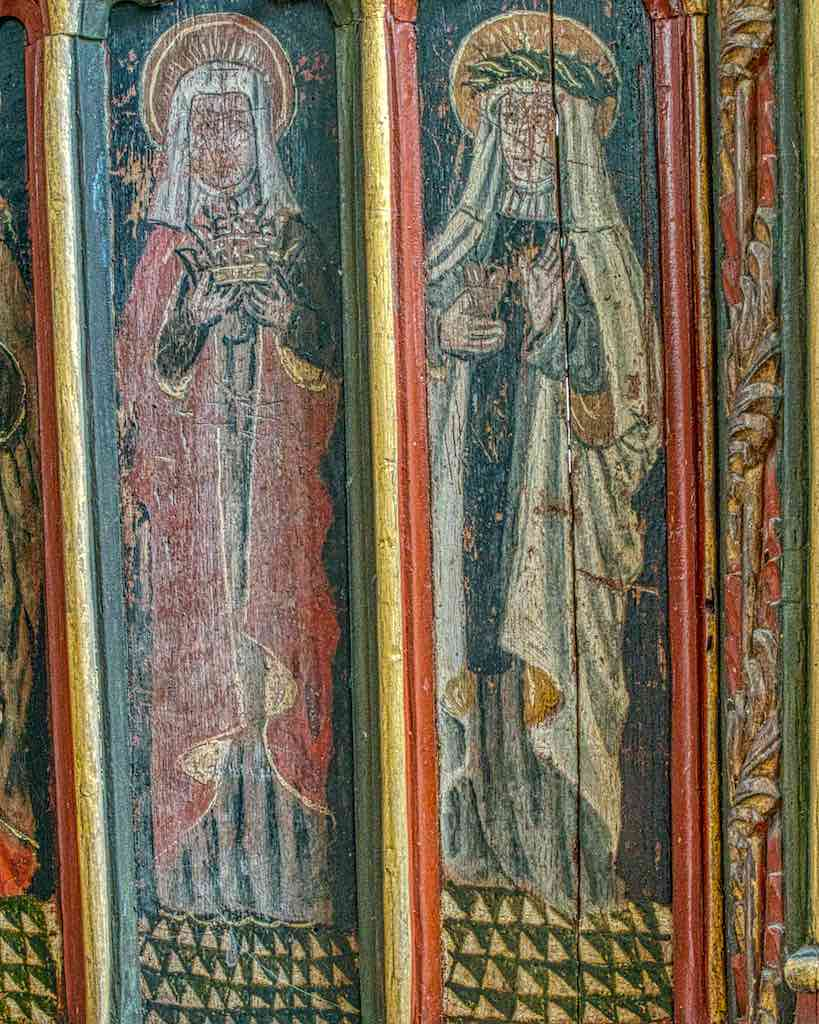 Roodscreen Painting Wood Coloured Medieval 15th Century Saints Elizabeth Catherine Figures Torbryan