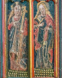 Roodscreen Painting Wood Coloured Medieval 15th Century Saints Helena Zita Figures Torbryan