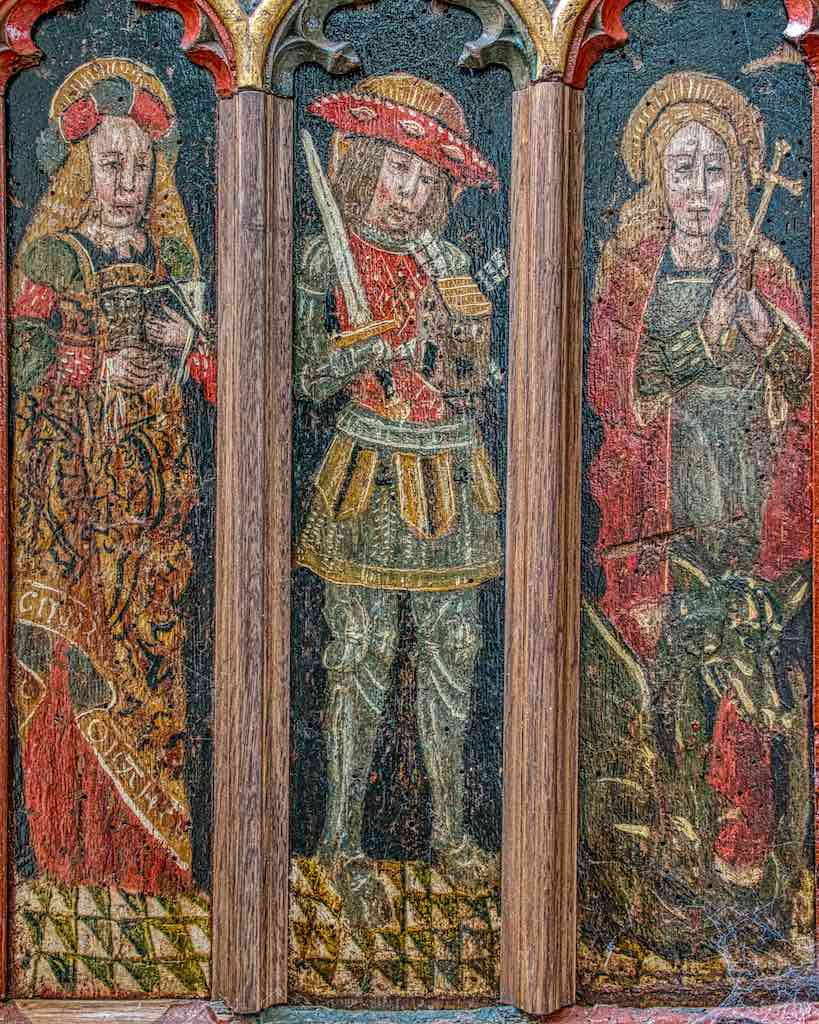 Painted saints on the Torbryan roodscreen, Mary Magdalene (?), St Victor of Marseilles and St Margaret