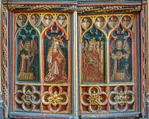 Roodscreen Wainscot Virgin Mary Christ Queen Of Heaven Medieval Carving Wood Coloured 15th Century Coloured Devon Style Torbryan