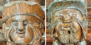 Roofboss Carving Wood Plain 19th Century Head Face Dalwood