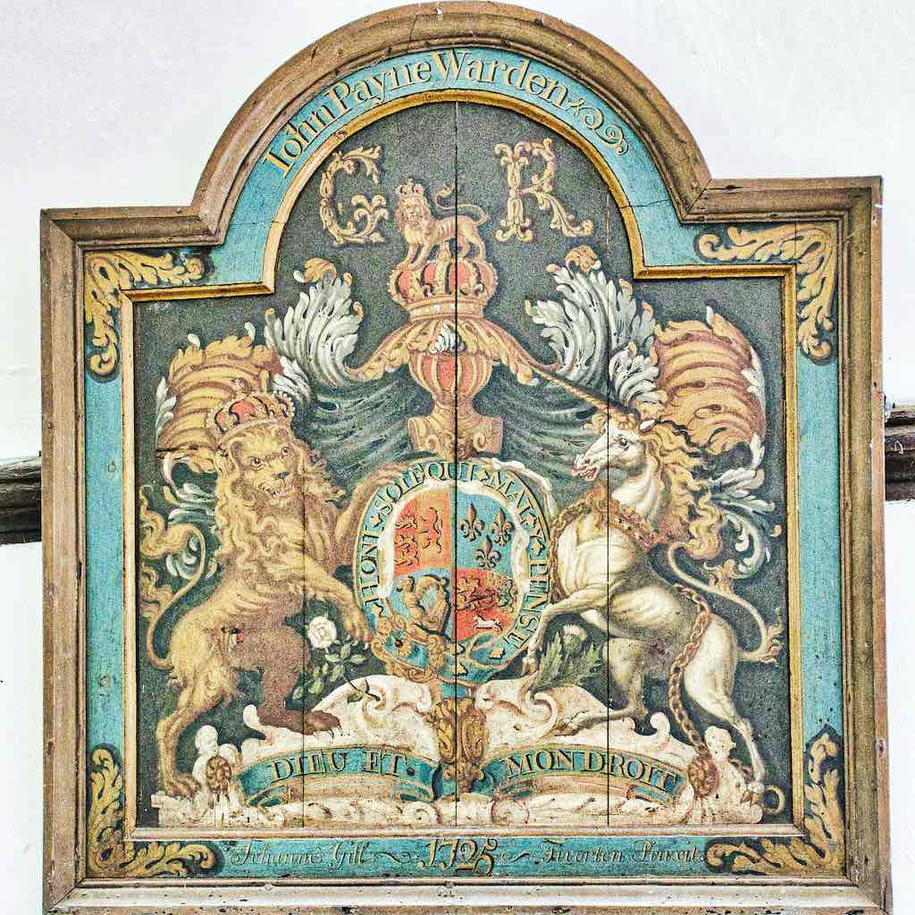 King George I's coat of arms, with a mighty fine unicorn.