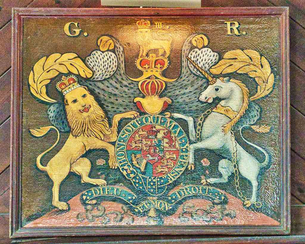 Coat of arms of King George III who was ruler during the American War of Independence.