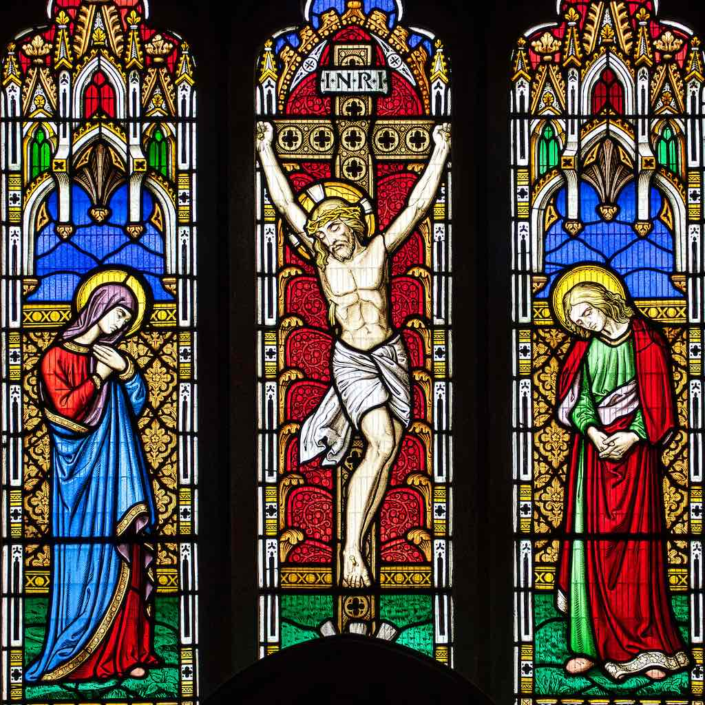 A beautiful Victorian Crucifixion in the East Window.
