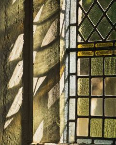 Stained Glass Green Coloured Leading Glazing Window Interior Stone Victorian 19th Century Peace Light Sunlight Reflections Dalwood
