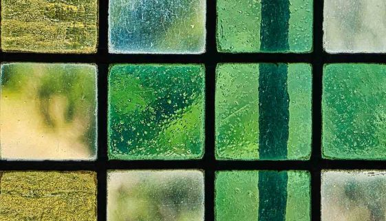 Stained Glass Green Yello Bubbles Coloured Leading Glazing Window Interior Victorian 19th Century Peace Dalwood