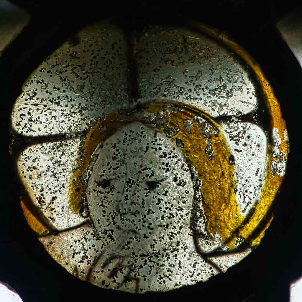 Stained Glass Medieval 15th Century Head Christ Face Dalwood