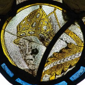 Stained Glass Medieval 15th Century Head Pope St Gregory Face Dalwood