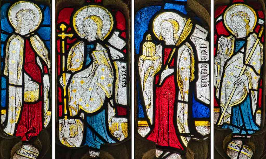 Medieval saints in medieval glass, such an important part of the old faith.