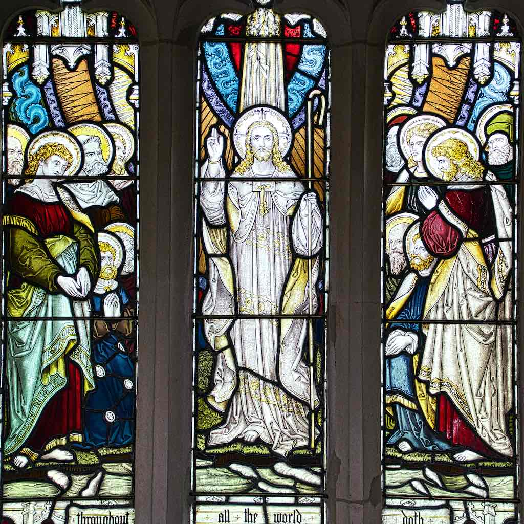 Stained glass from 1875 probably by Drake of Exeter