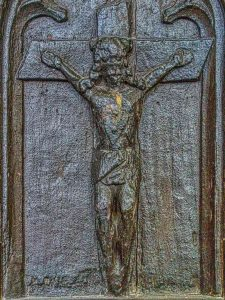 Benchend Pew 15th Century Carving Wood Christ Plain Crucifixion Woolfardisworthy