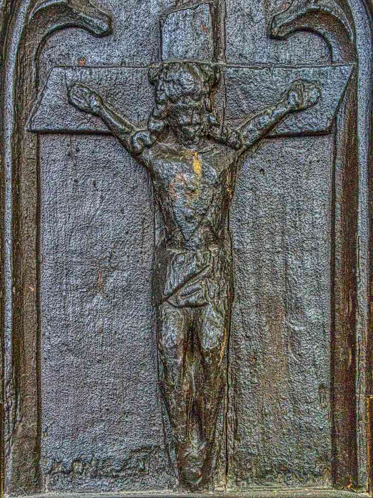 A very rare carving of the Crucifixion on a benchend. Most of these representations were probably destroyed after the Reformation.