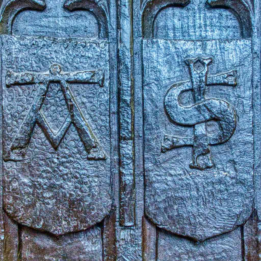 Benchend Pew 15th Century Medieval Carving Wood Plain Oak Symbols Woolfardisworthy