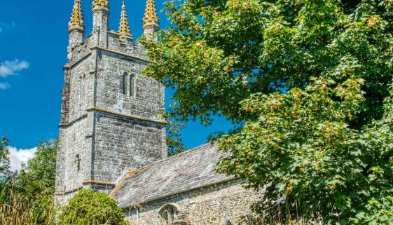 Church Exterior Tower Granite Stone Carving Pinnacles Medieval 15th Century West Devon Bradstone