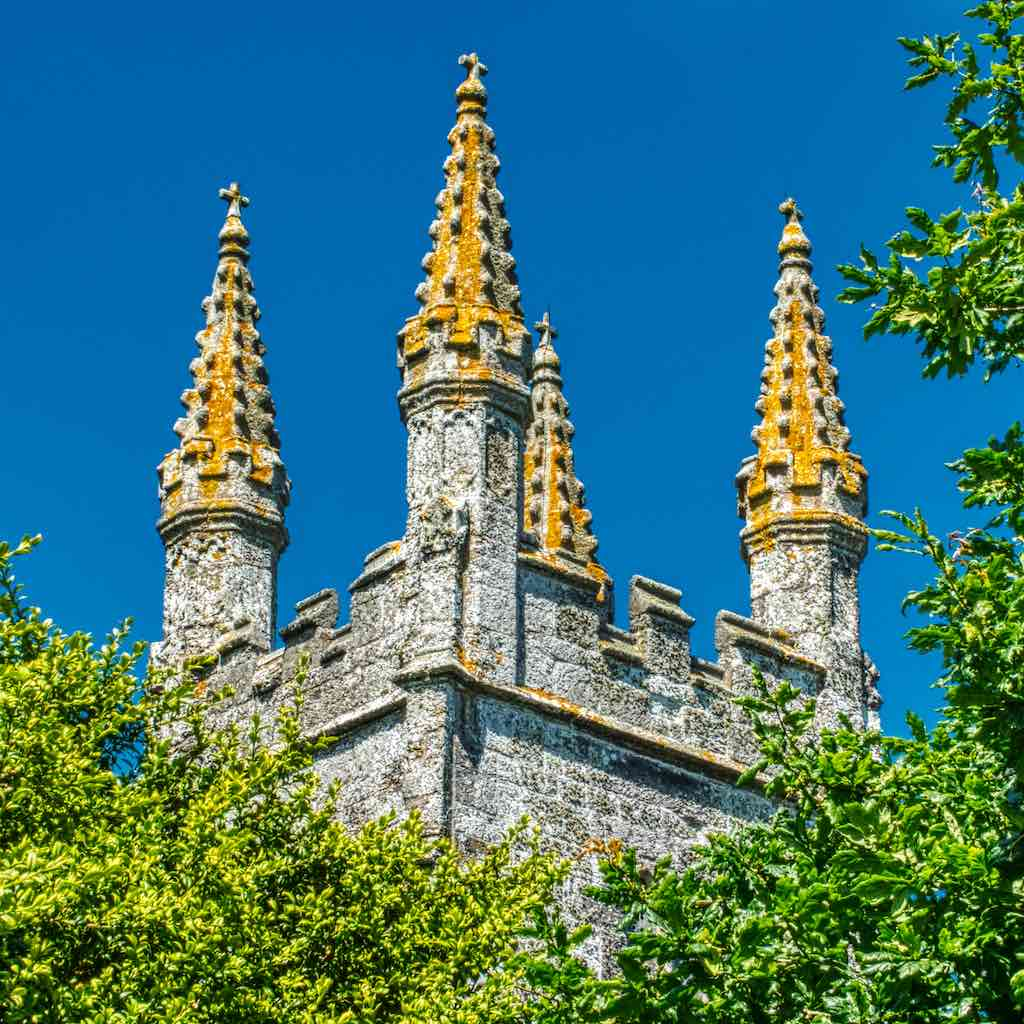 The top of the tower, Bradstone church of St Nonna and its gorgeous lichen-covered pinnacles