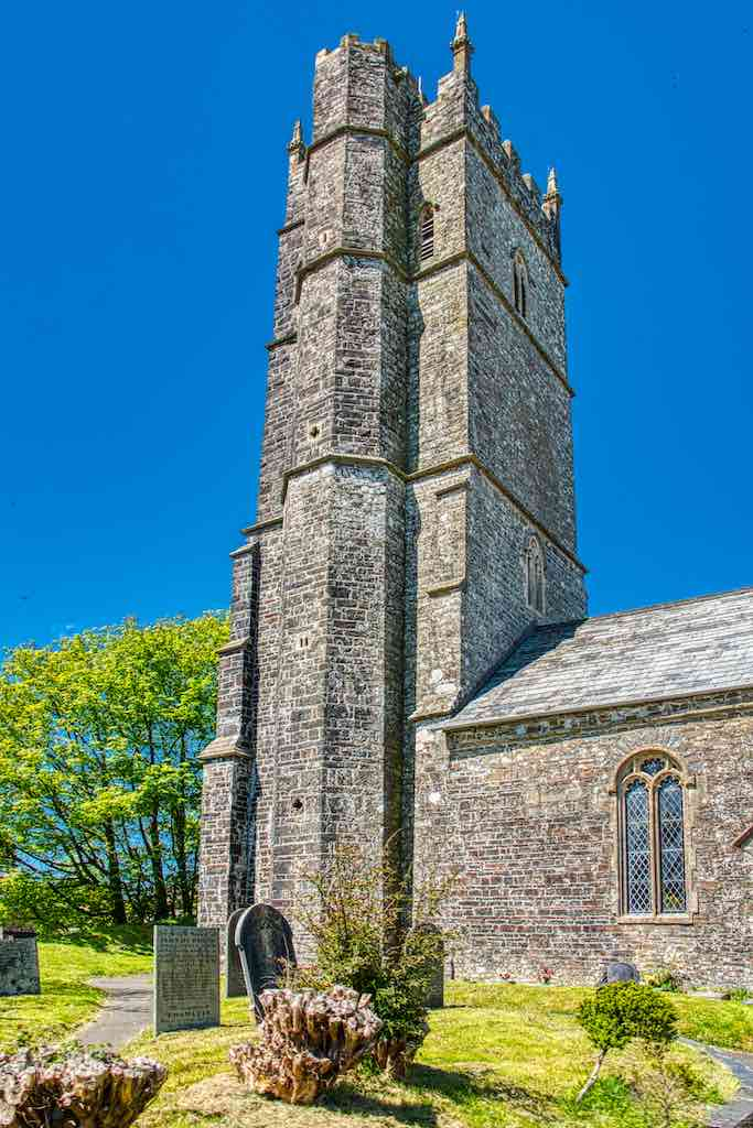 The powerful tower on Woolfardisworthy church, North Devon