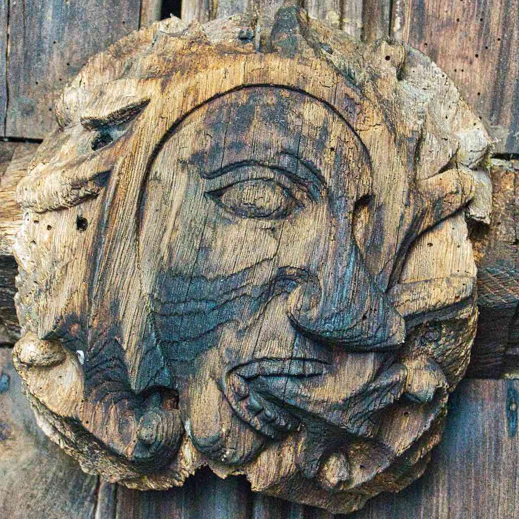 A very fine Green Man roofboss in the porch.