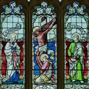 Stained Glass Victorian 19th Century Crucifixion Christ East Window Woolfardisworthy