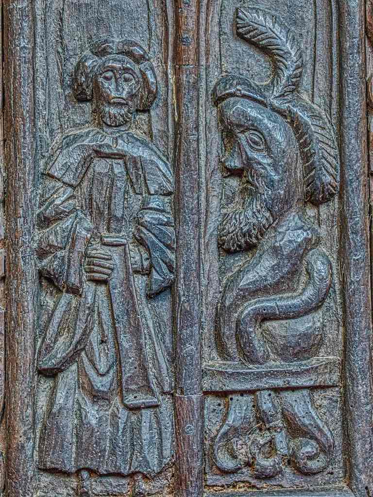Benchend Bad Preacher Listener Sermon Figure 16th Century Medieval Wood Carving Plain Pews Marwood