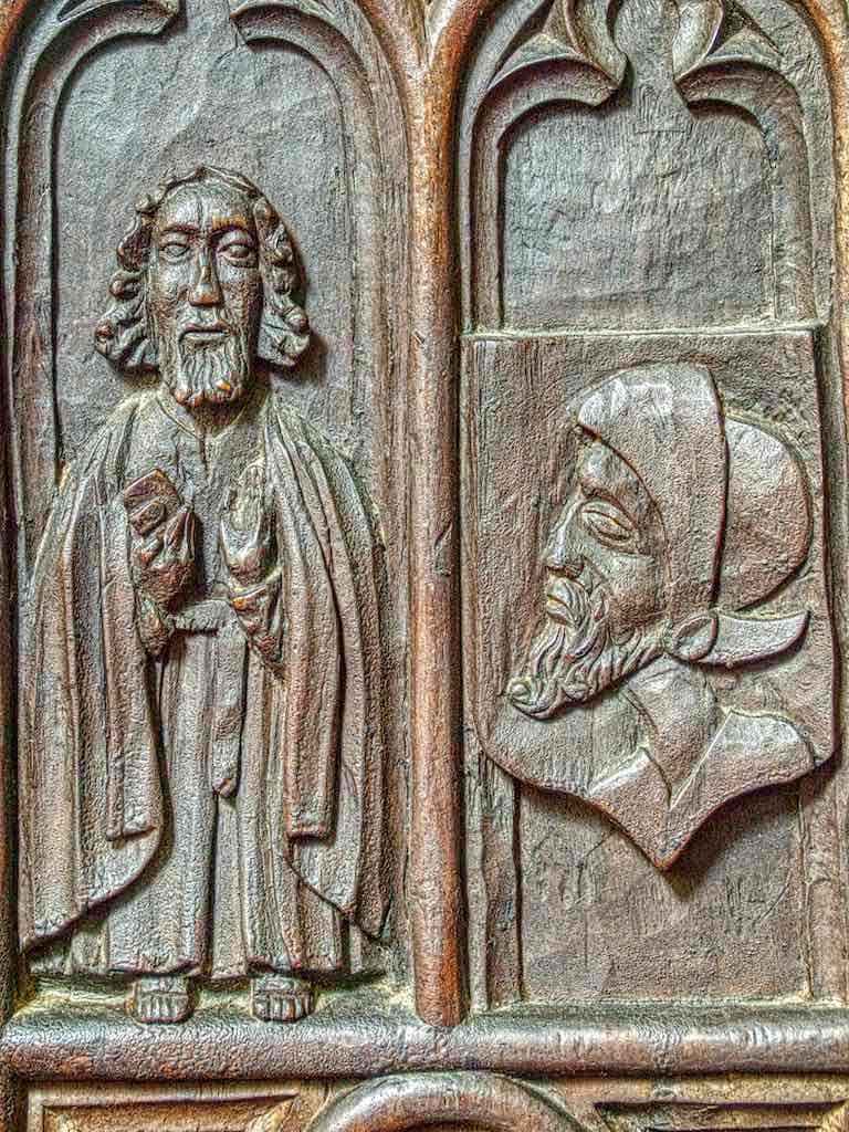 Benchend Good Preacher Listener Sermon Figure 16th Century Medieval Wood Carving Plain Pews Marwood