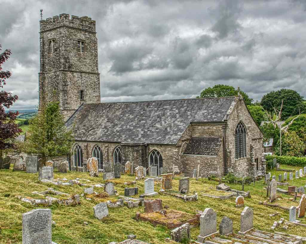 A steep hill rises to the south, giving a fine view of this 15th century church.