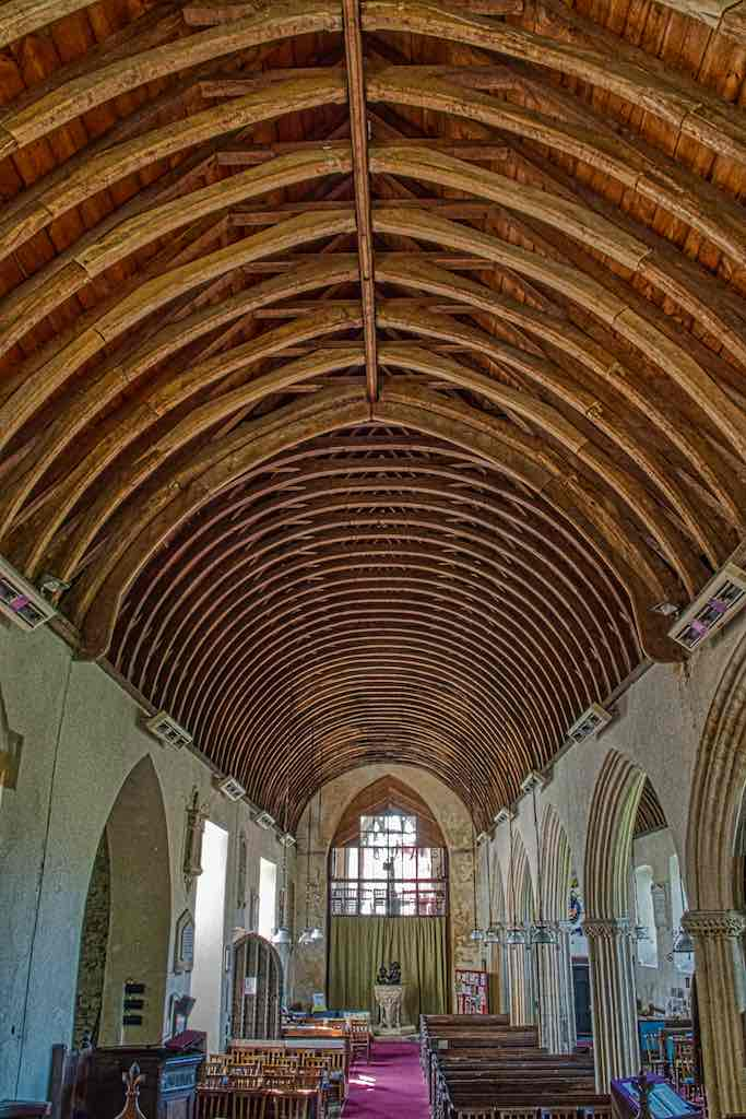 A grand roof on a grand nave; this church has presence.