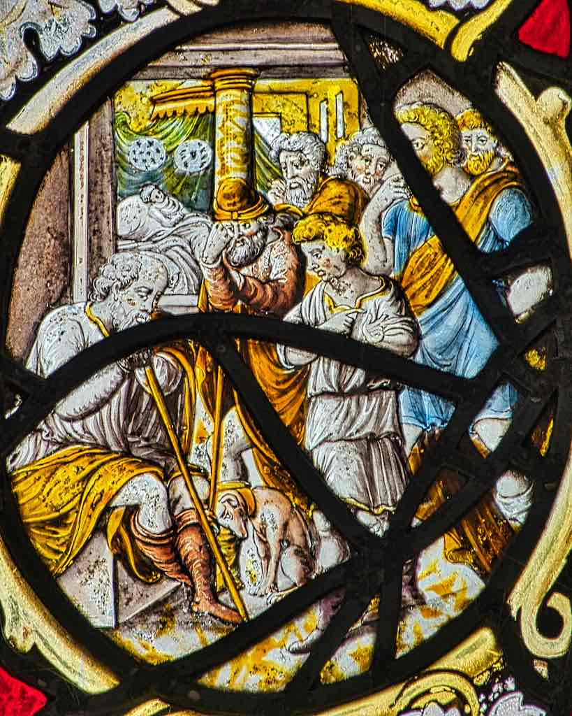 Flemish stained glass, late 17th century, showing the Miracle of Jairus' Daughter.