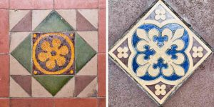 Floor Tiles Encaustic 19th Century Victorian Patterned Coloured Little Torrington