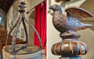 Font Cover 17th Century Jacobean Dove Wood Carving Plain Little Torrington