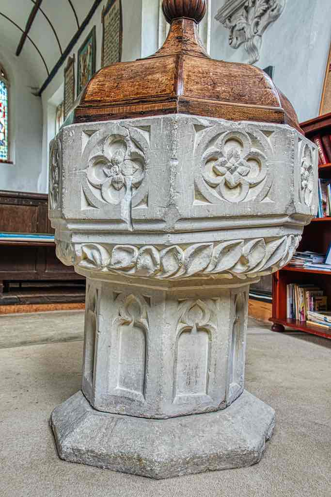 A fine 15th century font wobbling upright for over 500 years