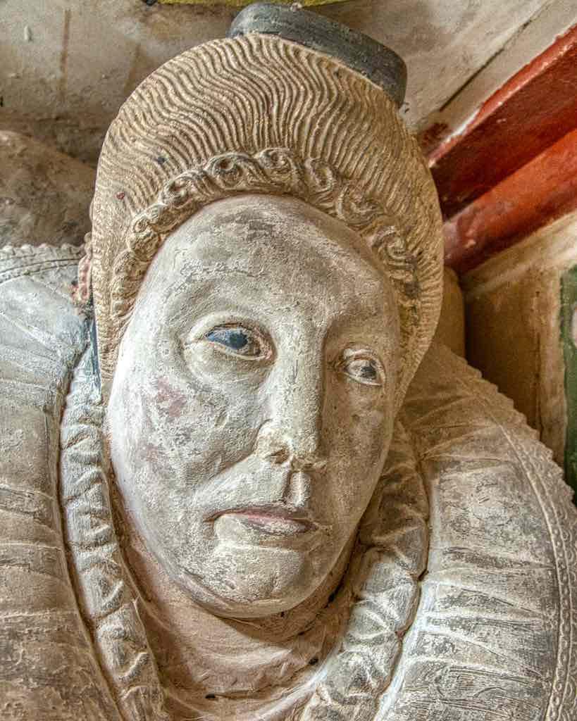 Monument Elizabeth Harris 17th Century Stone Carving Coloured Face Figures Chancel Cornworthy