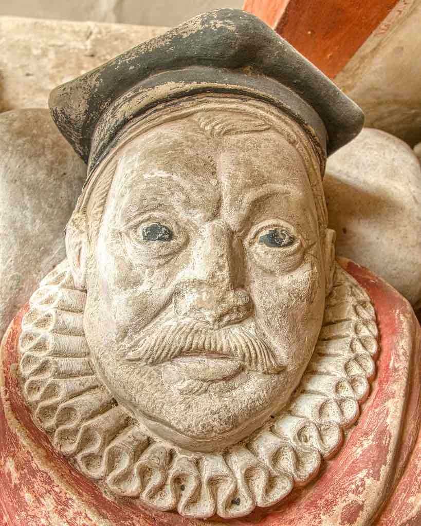 Monument Thomas Harris 17th Century Stone Carving Coloured Face Figures Chancel Cornworthy