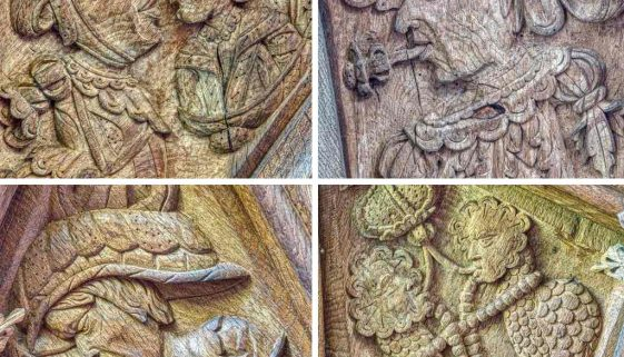 Roodscreen 16th Century Medieval Wood Carving Plain Renaissance Oak Faces Heads Kissing Marwood